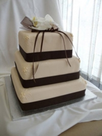 Square Three tier wedding cake fondant and ribbons by Goodies Bakeshop