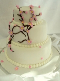 Cherry Blossom three tier wedding cake by Goodies Bakeshop